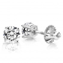 1 Carat Diamond Stud Earrings w Round Diamonds 14K White Gold
