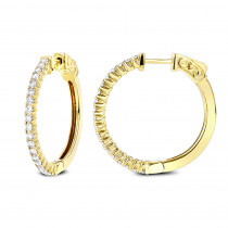 1 Inch Diamond Hoop Earrings 0.86ct 14K Gold