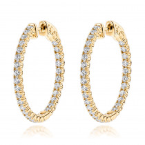 1 inch Inside Out 2 Carat Diamond Hoop Earrings for Women by Luxurman