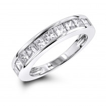 Thin 1 Row Princess Cut Diamond Wedding Band 1.65ct 10K Gold