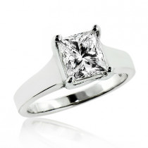 1 Stone Solitaire Princess Cut Diamond Engagement Ring 1.5ct 14K Gold