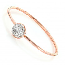 Ladies Pave Diamond Ball Bangle Bracelet 1 ct 10K Gold