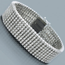 10K 7-Row Cuff Diamond Bracelet 14.70ct