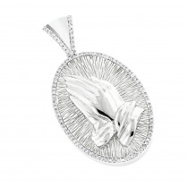 10K Diamond Praying Hands Pendant 0.36ct
