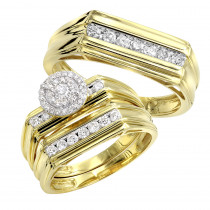 10k Gold Affordable Cluster Diamond Engagement Ring Wedding Band Trio Set
