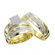 10K Gold Affordable Diamond Engagement Ring Wedding Band Trio Set 0.2ct