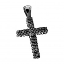 10K Gold Black Diamond Cross Pendant for Men 1.5ct by Luxurman