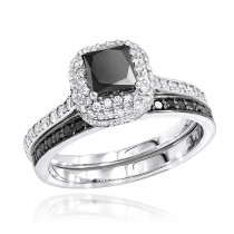 10K Gold White Black Diamond Unique Bridal Engagement Ring Set 1.2ct