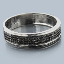 Thin 10K Gold Black Diamond Wedding Band 0.28ct
