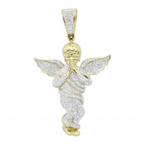 10K Gold Diamond Baby Angel Pendant for Men 1.3ct by Luxurman