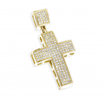 10K Gold Diamond Cross Pendant for Men 0.72ct