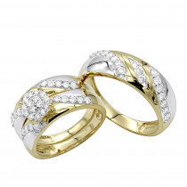 10K Gold Diamond Engagement Bridal Trio Wedding Ring Set 0.84ct