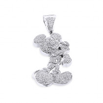 Real 10K Gold Diamond Mickey Mouse Pendant Cartoon Character 3.25ct