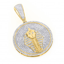 10K Gold Egyptian Pharaoh Head Diamond Pendant King Tut Charm Medallion