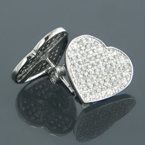 10K Gold Heart Shaped Diamond Stud Earrings 0.63ct