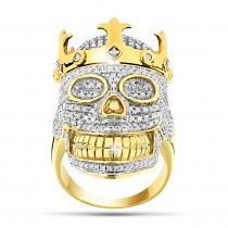 10K Gold Hip Hop Jewelry: Mens Diamond Skull Ring with Crown 2.75ct