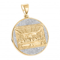 10K Gold Last Supper Diamond Pendant for Men Medallion by Luxurman