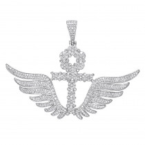 10K Gold Mens Diamond Ankh Pendant Cross with Wings 3.33ct by Luxurman