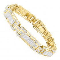 10K Gold Mens Diamond Bracelet 3.27ct