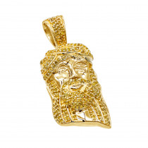 10k Gold Micro Jesus Piece Yellow Diamond Face Pendant 04ct by Luxurman