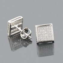 10K Gold Pave Diamond Stud Earrings 0.18ct