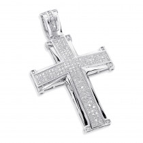 10K Gold Round Diamond Cross Pendant 1ct