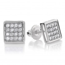 10K Gold Square Pave Diamond Stud Earrings 0.19ct