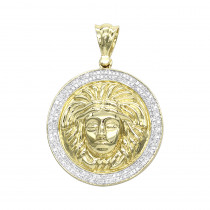 10K Gold  Versace Style Diamond Pendant Medusa Head Medallion for Men 0.5ct