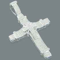 10K Mens Pave Round Diamond Cross Pendant 1.85