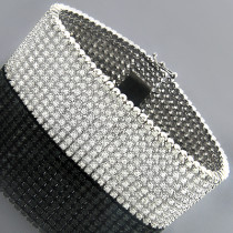 10K Mens Round Prong Diamond Cuff Bracelet 10 Row 22.25