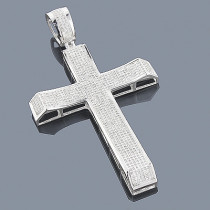 10K Pave Diamond Cross Pendant 2.45ct