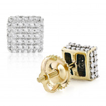 10K Gold Pave Diamond Stud Earrings 0.5ct