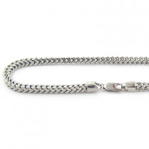 Mens 10K Solid White Gold Franco Chain Necklace 26-40in,4mm