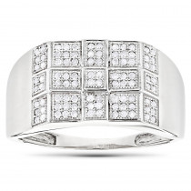 10K White Gold Mens Diamond Ring 0.34ct