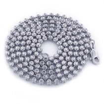 Mens 10K White Gold Moon Cut Bead Chain 3mm; 22-40in