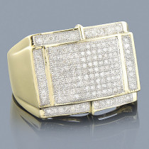 10K Yellow Gold Mens Diamond Ring 0.66ct