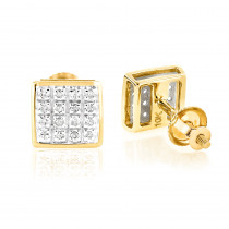 10K Yellow Gold Round Diamond Stud Earrings 6mm 0.18ct