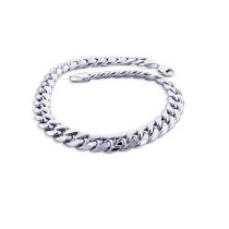 11mm White Gold Miami Cuban Link Chain Bracelet in 10K 7.5-9in