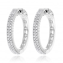 14K Gold 2 Row 1 Inch Diamond Hoop Earrings 1.26ct