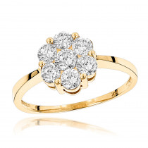 14K Gold 7 Stone 1 Carat Diamond Cluster Ring for Women by Luxurman