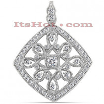 14K Antique Style Diamond Pendant 1.45ct