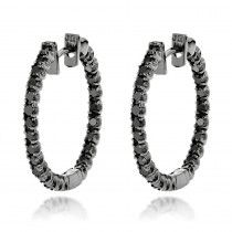 14K Black Diamond Hoop Earrings 1.79ct