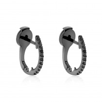 14K Gold Black Diamond Hoop Huggie Earrings 0.16ct