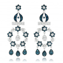 14K Blue Diamond Flower Chandelier Earrings 1.61ct