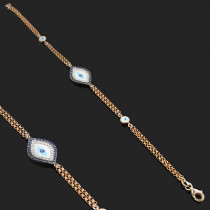 14K Rose Gold Diamond and Blue Sapphire Evil Eye Bracelet .14ct
