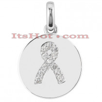 14K Breast Cancer Awareness Diamond Pendant 0.12ct