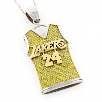 Lakers Real 14K Gold Customizable Diamond Basketball Jersey Pendant 5.8ct
