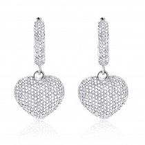 14K Dangle Diamond Heart Earrings 1 ct