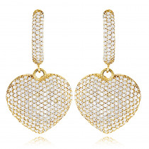 14K Gold Dangle Diamond Heart Earrings for Women 1.5ct