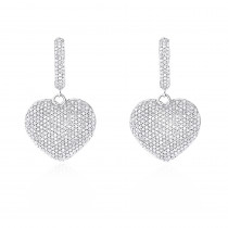 14K Dangle Diamond Heart Earrings 1.75ct